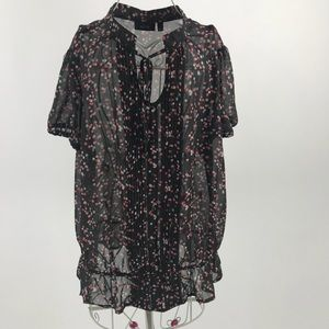 Apt 9 Black sheer floral blouse